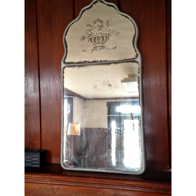 Image of Large Vintage Etched Wall Mirror