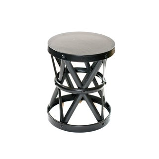 Black Metal Drum Form Side Stool