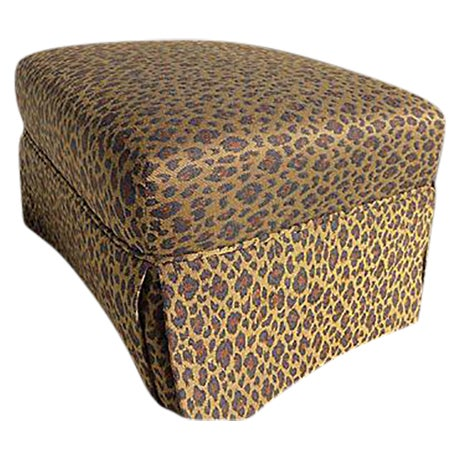 Image of Faux Leopard Skin Upholstered Ottoman