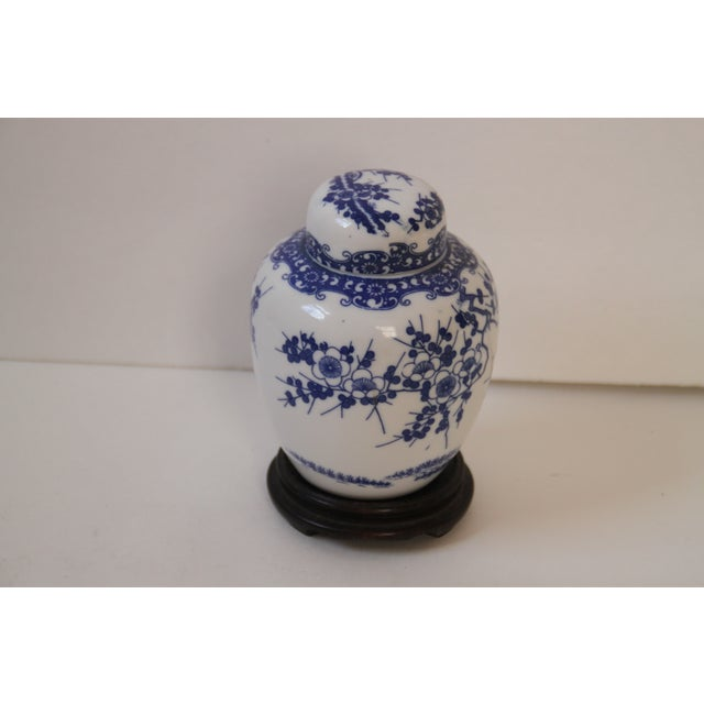 Image of Blue & White Chinese Ginger Jar on Stand