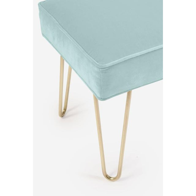 Petite Brass Hairpin Ottomans in Mint Velvet by Montage - Image 1 of 1