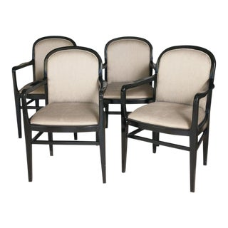 Black Lacquer & Silk Dining Armchairs - Set of 4
