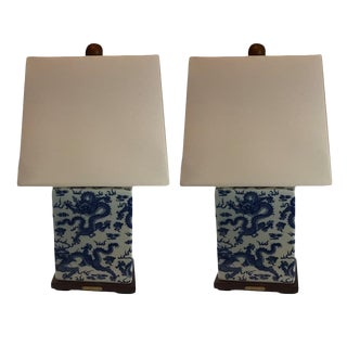 Ralph Lauren Porcelain Dragon Blue & White Table Lamps - A Pair
