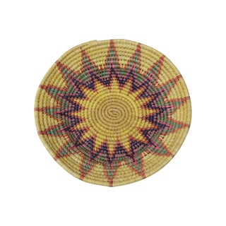 Round Tribal Basket With Sunburst Design