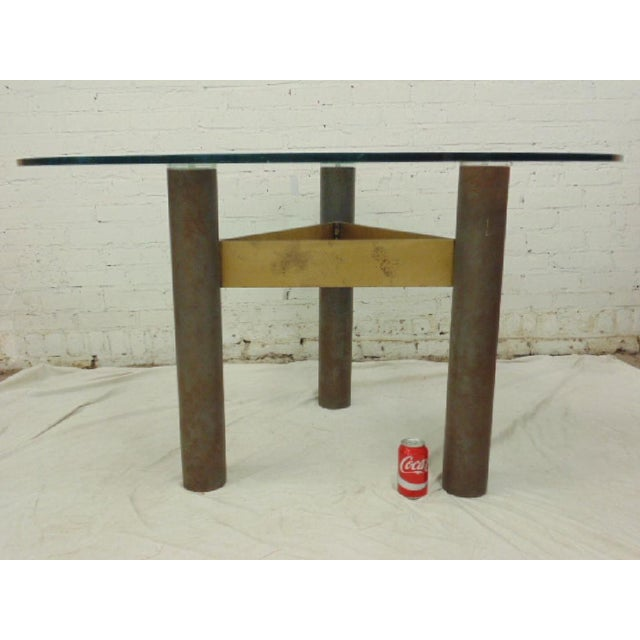 1986 Modernage Miami Postmodern Glass & Brass Geometric Dining Table - Image 5 of 6