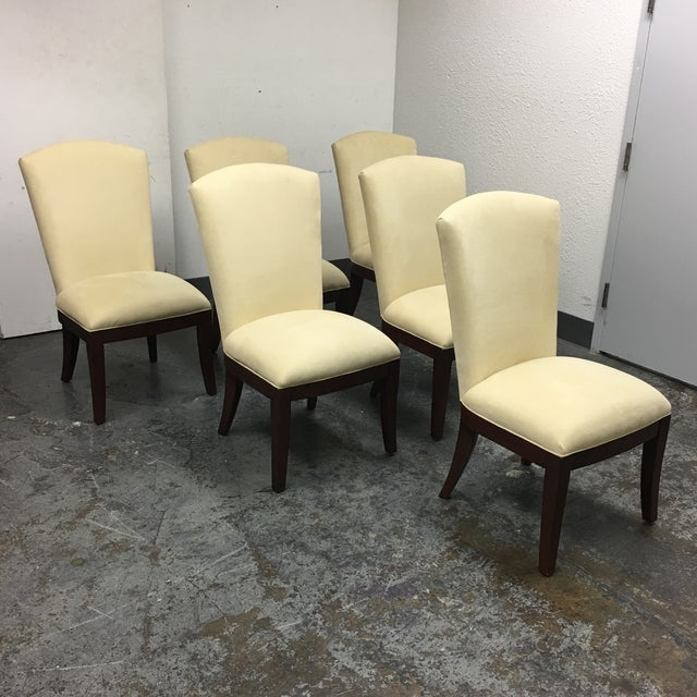 Jessica Charles Cream Sensuede Upholstered Dining Chairs- Set of 6 - Image 3 of 7