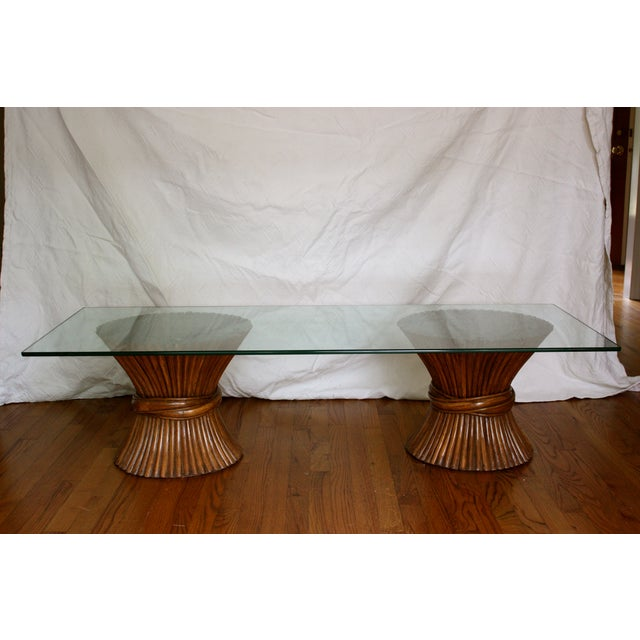 Midcentury Rattan Sheaf Glass Top Coffee Table - Image 2 of 4