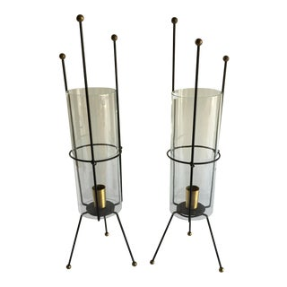 Mid-Century Wire & Glass Hurricane Candle Holders - Pair