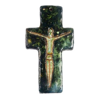Wall Crucifix in Ceramic, Hand-Painted, Green, Brown, Made in Belgium, 1970s