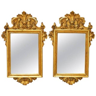 Italian Rococo Giltwood and Gesso Mirrors - A Pair