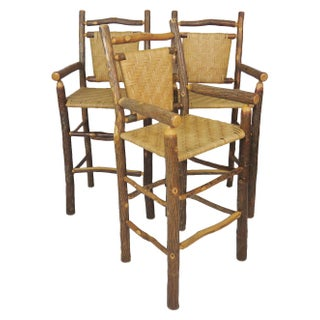 Faux Log & Wicker Bar Stools - Set of 3
