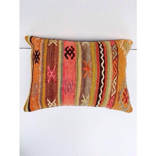 Turkish Orange & Tan Striped Kilim Pillow - Image 4 of 7