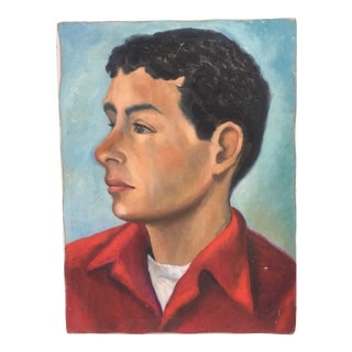 Mid-Century Oil Portrait of Young Man