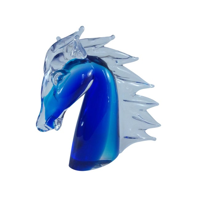 Murano Glass Horse Head Cobalt Italian - Image 1 of 7