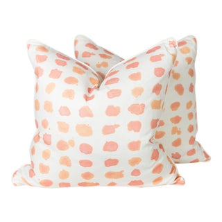 Tangerine & Ivory Guinea Spotted Pillows - A Pair
