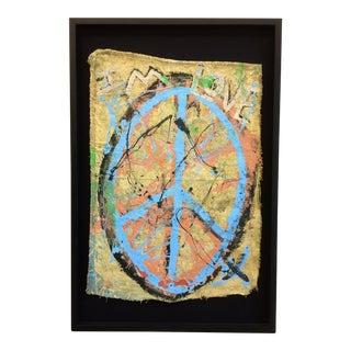 Framed Original Peace Sign Fiber Art