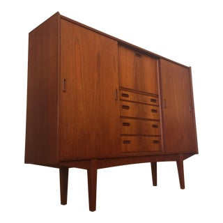 Danish Modern Teak Tall Sideboard / Bar