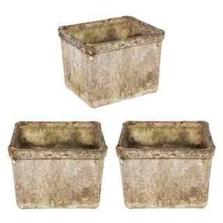 Set of 3 Vintage Cement Jardinieres in the Style of Willy Guhl