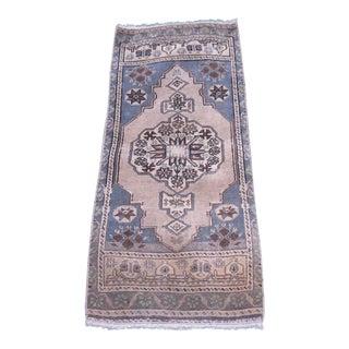 """Turkish Blue Wool Pile Small Vintage Rug - 1'6"""" x 3'7"""""""