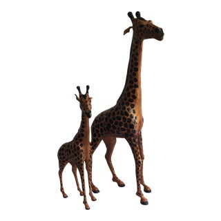 Hand-Painted Leather Giraffes - a Pair