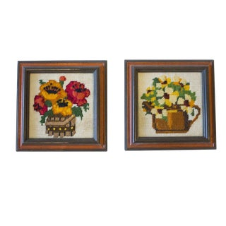 Mid-Century Framed Floral Embroidery - A Pair