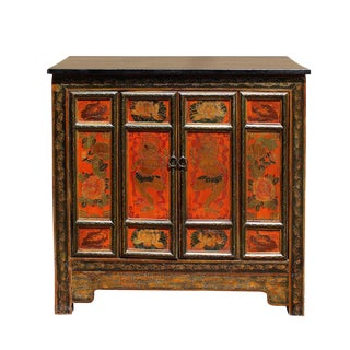 Chinese Tibetan Graphic Side Table Cabinet