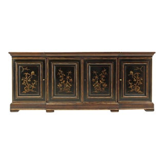 Two Tone Chinoiserie Four Doors Drexel Server Cabinet