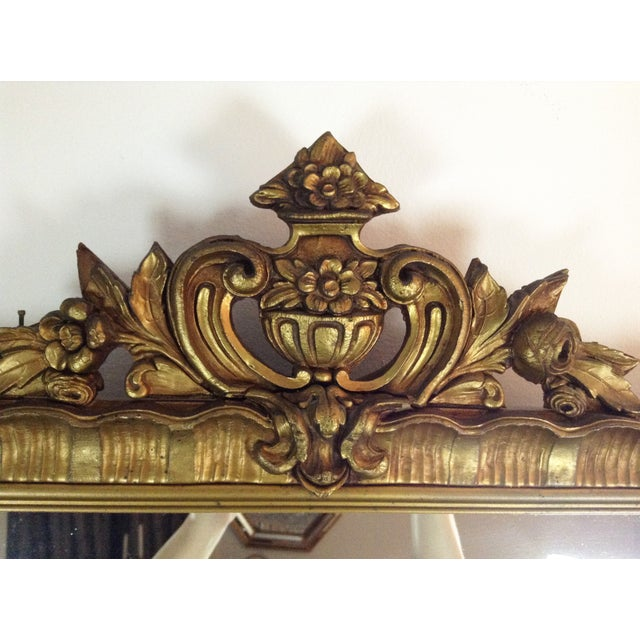 Antique Gilded Crested Wooden Wall Mirror - Image 3 of 8