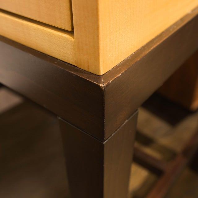 Image of Dark Mahogany and Maple Night Stands - Pair