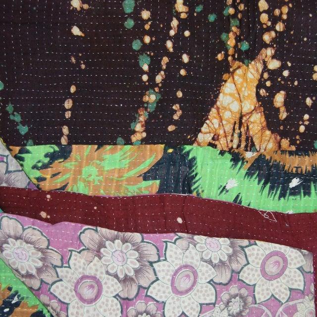 """Vintage Kantha Quilt 62"""" x 84"""" - Image 2 of 3"""
