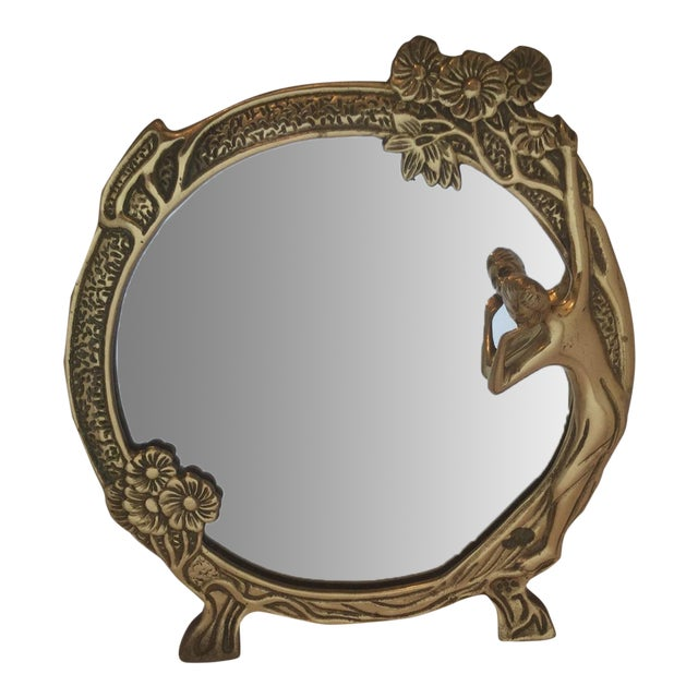 art noveau bronze vanity mirror chairish. Black Bedroom Furniture Sets. Home Design Ideas