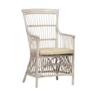 White Wash Rattan Armchair