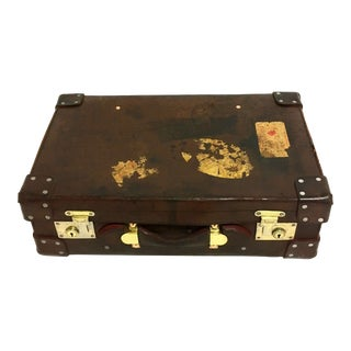 Antique English Leather Suitcase