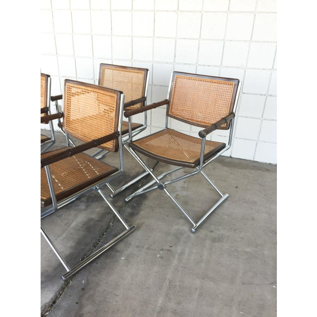 Mid-Century Faux Bamboo & Chrome Directors Chairs - Image 4 of 6