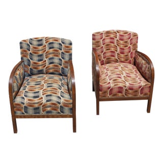 French Art Deco Sold Mahogany Speed Armchairs - A Pair