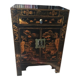 Asian Inspired Black & Gold Side Table
