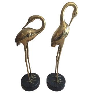 Solid Brass Vintage Sandhill Cranes - a Pair
