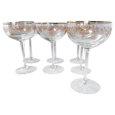 Image of Antique Crystal Champagne Glasses - Set of 7