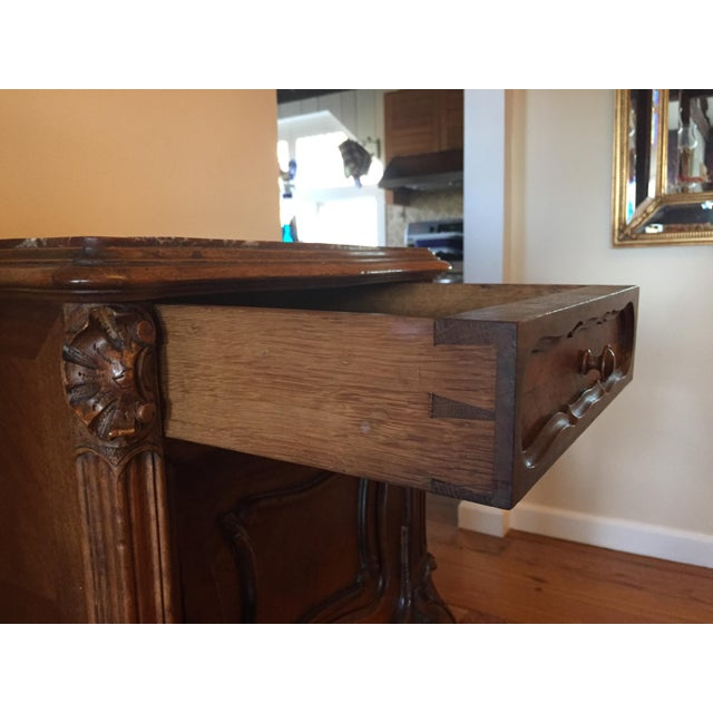 French Marble Top Walnut Nightstand - Image 5 of 7