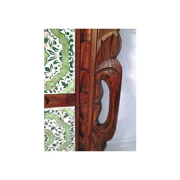 Mexican Carved Wood Green Tile Tray - Image 5 of 5