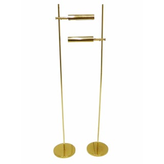 Koch & Lowy Adjustable Brass Reading Lamps - Pair