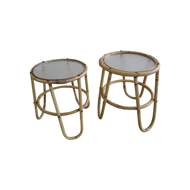 Mid Century Danish Rattan Plant Stands - Image 1 of 6