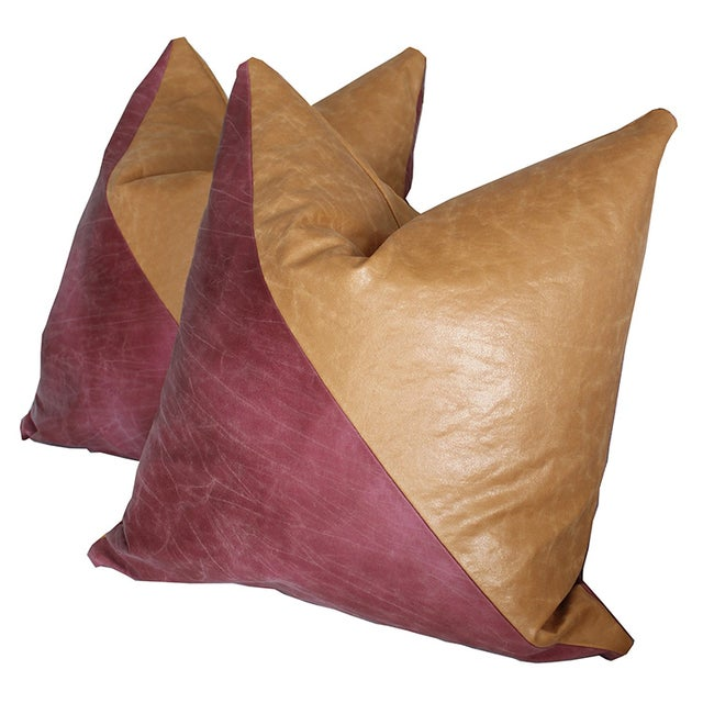 Modern Abstract Colorblock Pillows - A Pair - Image 1 of 3