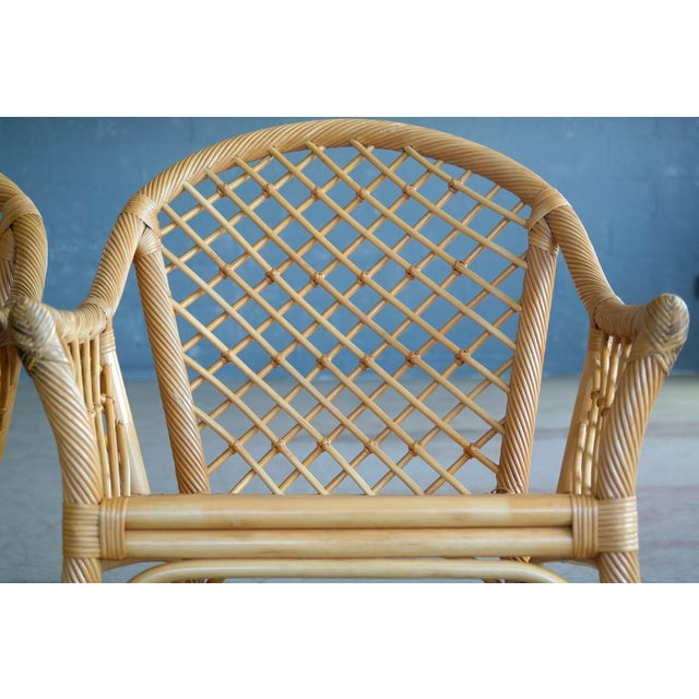 Mid Century Modern Danish Rattan Armchairs - a Pair - Image 8 of 11