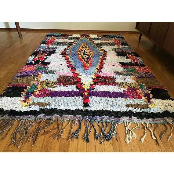 "Vintage ""Goddess"" Moroccan Boucherouite Rug - 4′5″ × 6′7″ - Image 4 of 6"