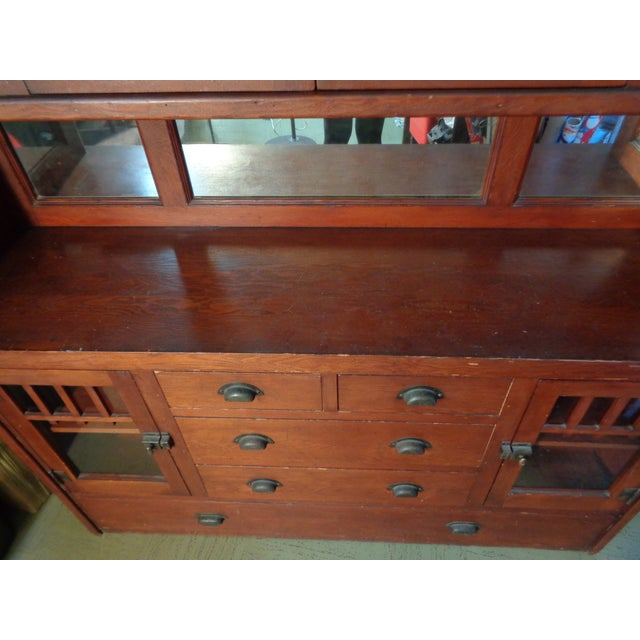 Antique Mission Hutch China Cabinet - Image 11 of 11