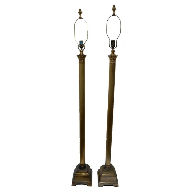 Speer Brass Floor Lamps With Harp - A Pair - Image 10 of 10