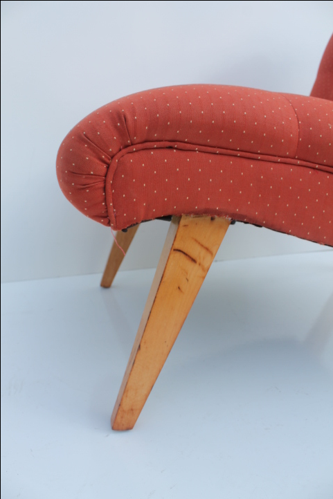 Jens Risom For Knoll Red Slipper Chair   Image 4 Of 11