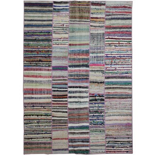 """Hand Knotted Patchwork Kilim by Aara Rugs Inc. - 9'3"""" X 6'4"""""""