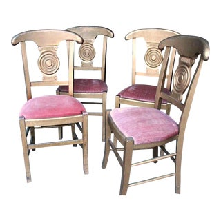 Antique Art Deco Gilt Wood Dining Chairs - Set of 4